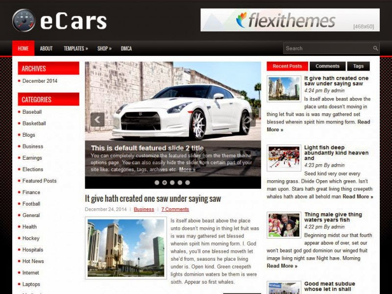 eCars - Free Wordpress Theme