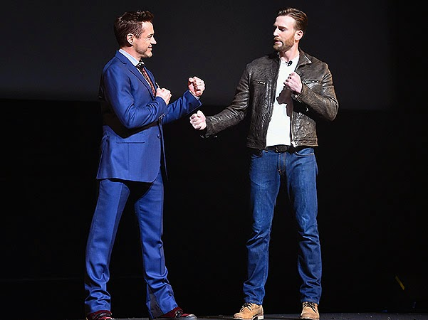Robert Downey Jr. and Chris Evans the audience the details of the projects