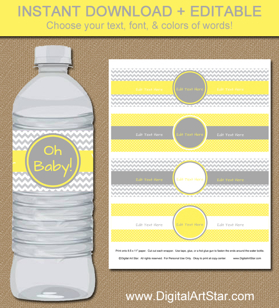 baby shower water bottle labels in yellow & gray chevron