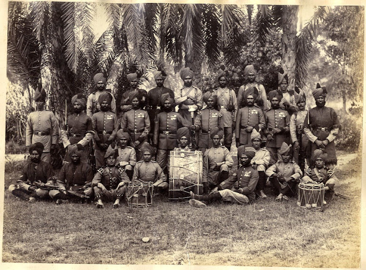Sikh Military Regiment Officers with Drums and Medals - c1880's