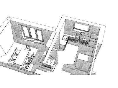 Architekt Rzeszów. Dom jednorodzinny, wizualizacja kuchni i jadalni z kominkiem.