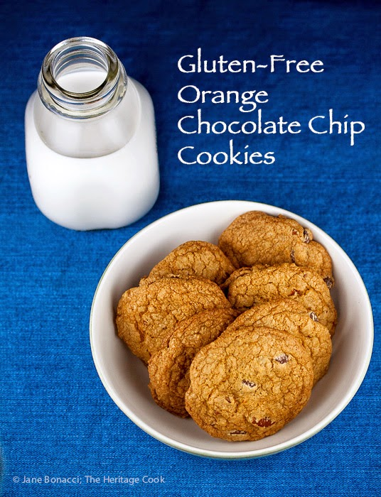 Featured Recipe | Gluten-Free Orange Chocolate Chip Cookies from The Heritage Cook #recipe #cookies #glutenfree #SecretRecipeClub #chocolate