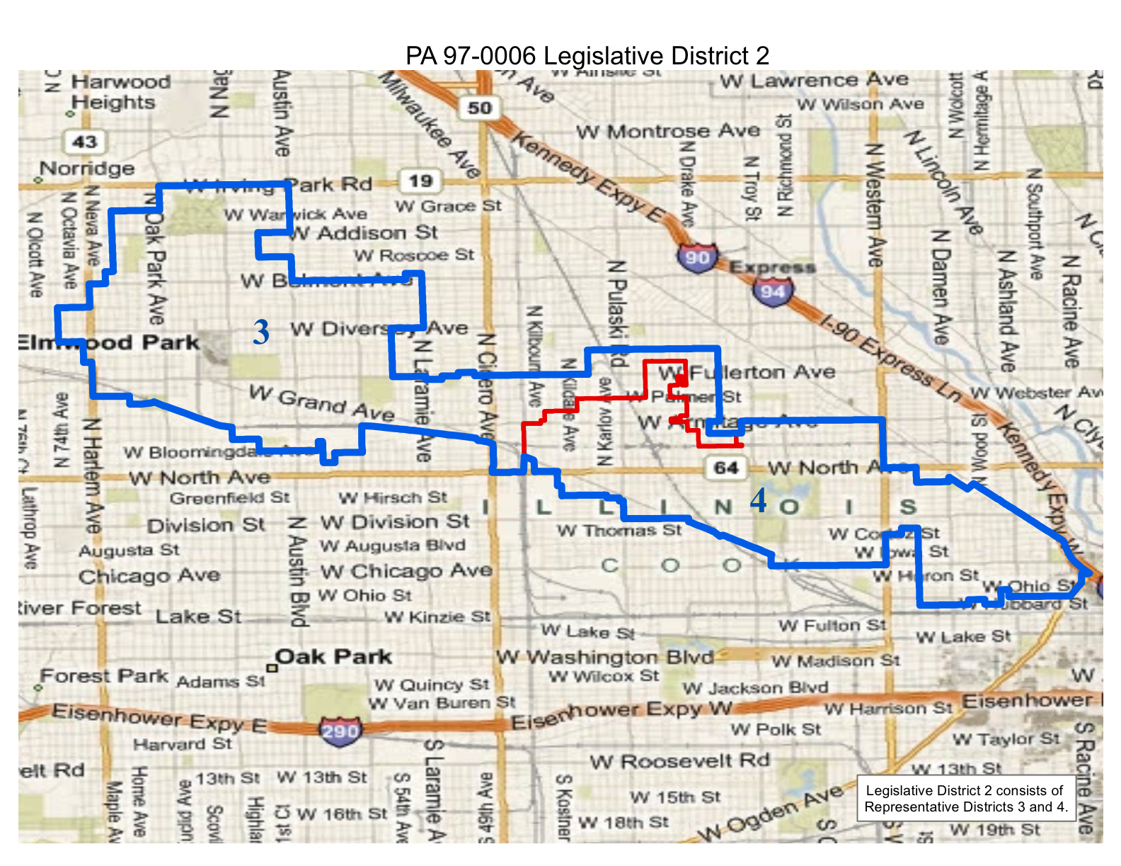 illinois legislative district 2 which extends from about harlem to i 90 expressway and west irving park road and north avenue in chicago