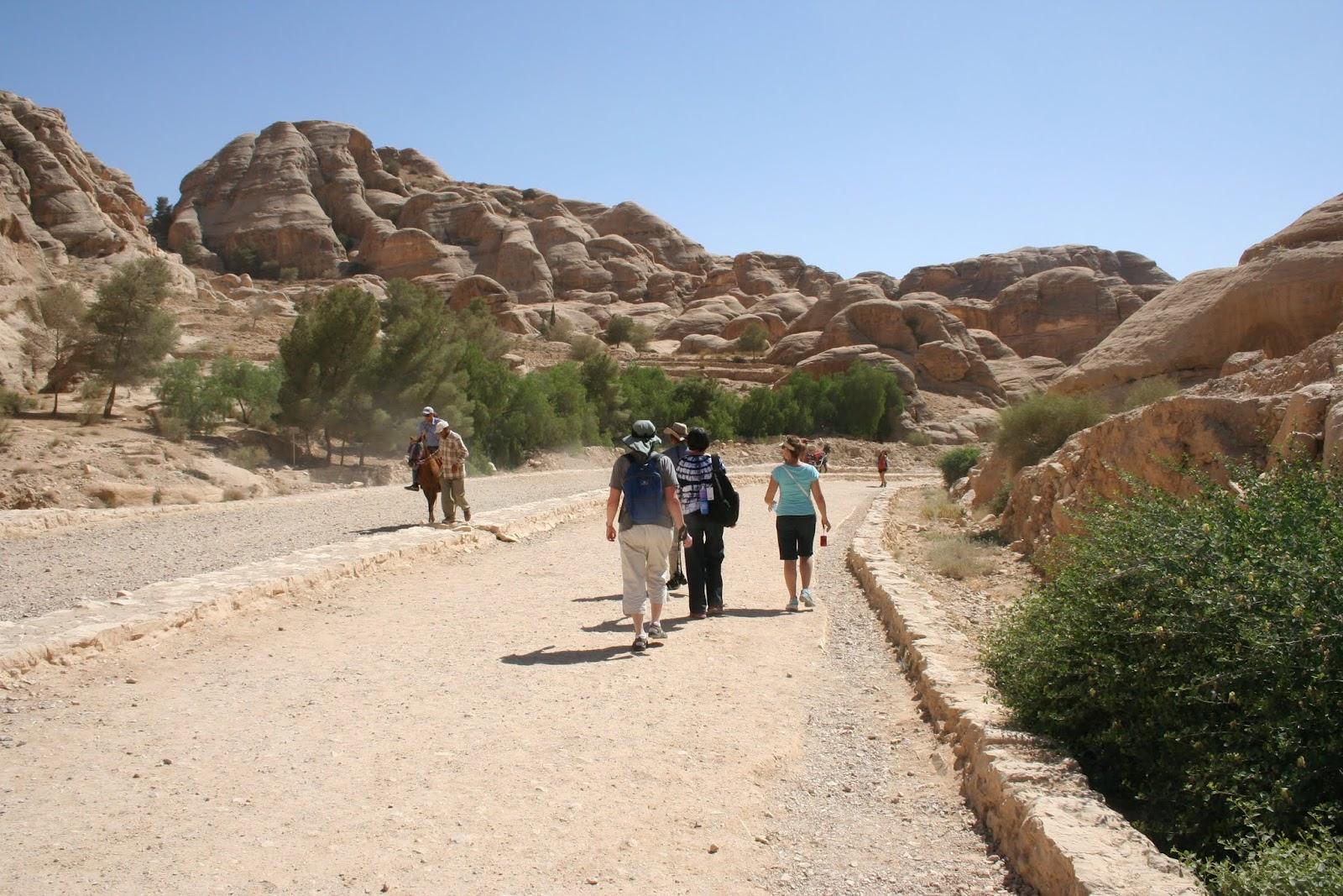 Walking toward the entrance to the Siq