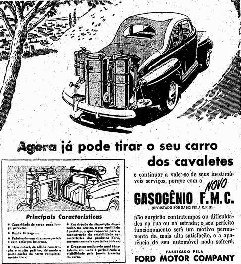 Propaganda do tanque de Gasogênio, em época de Segunda Guerra Mundial.