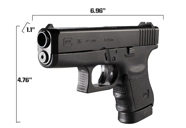 Glock 36 Measurements, glock 36, glock 36 size, glock 36 size comparison