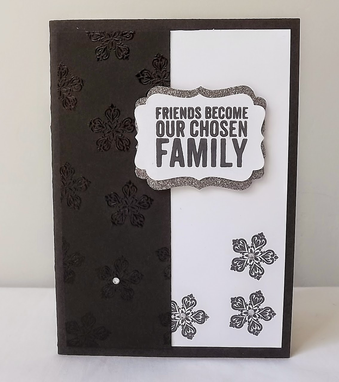 Stampin Up! heat embossed black and white card
