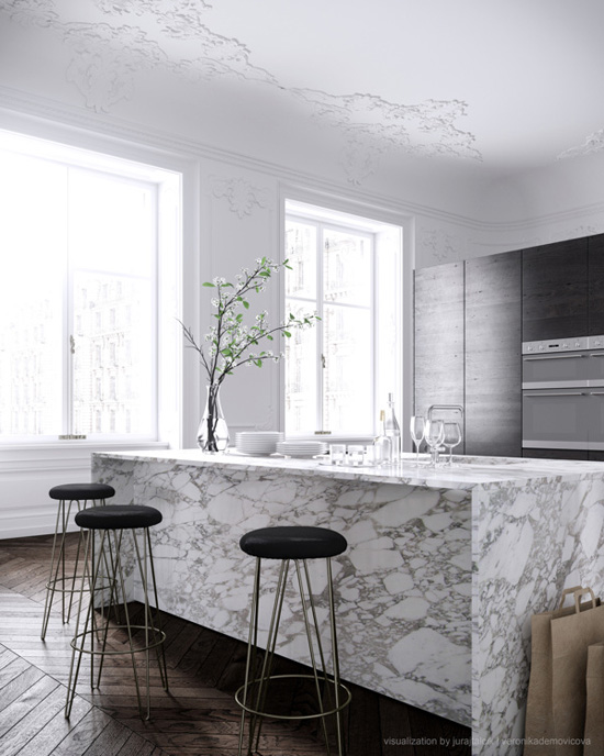 A contemporary chic apartment designed by Jess Vedel and visualised by Talcik | Demonicova