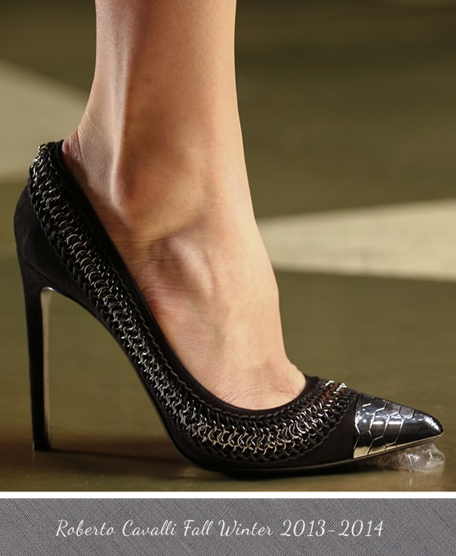 Roberto Cavalli Snakeskin print metal toecap pump with chain Fall Winter 2013