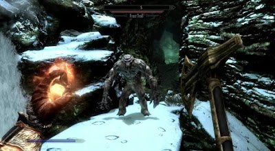 A screenshot in the first person, with a sword in one hand and a fireball in the other, about to attack a troll.