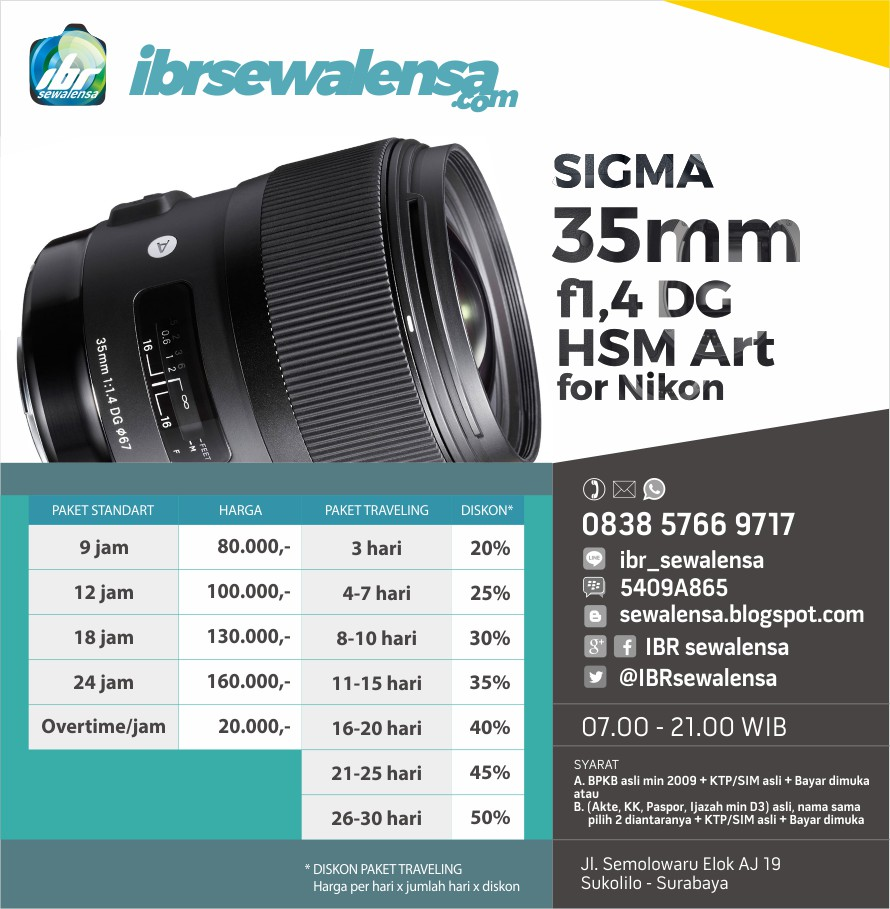 SIGMA 35mm f1.4 DG HSM Art for Nikon SEWA RENTAL KAMERA LENSA