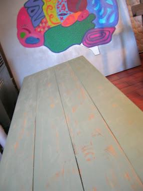 Mesa baja de tablones. Patina verde 1,60 x 0,50 m