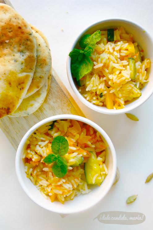 arroz indio con verduras y cardamomo