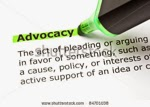 Advocacy topic icon ... green highlighter pen highlighting the word advocacy on a page of text