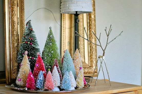 bottle brush trees, christmas, vintage
