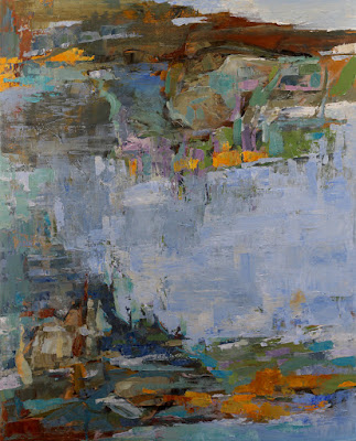 """A Cool Blue Day - Abstract painting by Karri McLean Allrich 52x42"""""""