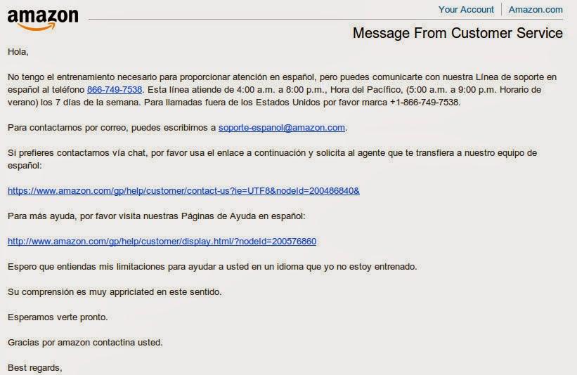 numero de atencion al cliente amazon en español