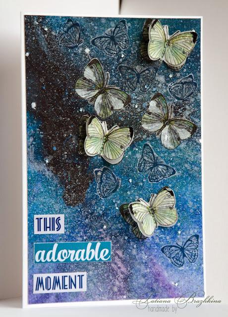 Открытка с бабочками и звездным небом