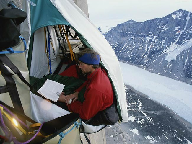 Hanging tents are used to relax for the climber is called Portaledge. Designed specifically with a fairly strong resistance and can protect the climber from ... & Overview: Portaledge Camping Extreem Camp with Hanging Tent on Cliff