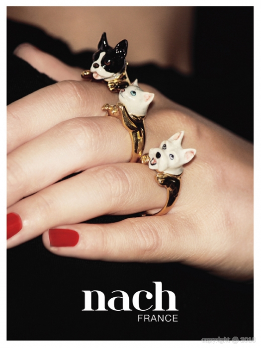 kitschy stylish dog and cat porcelain and gold designer rings
