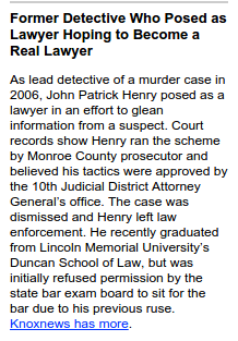 Ex detective Pat Henry no longer a clerk at Held Law Firm