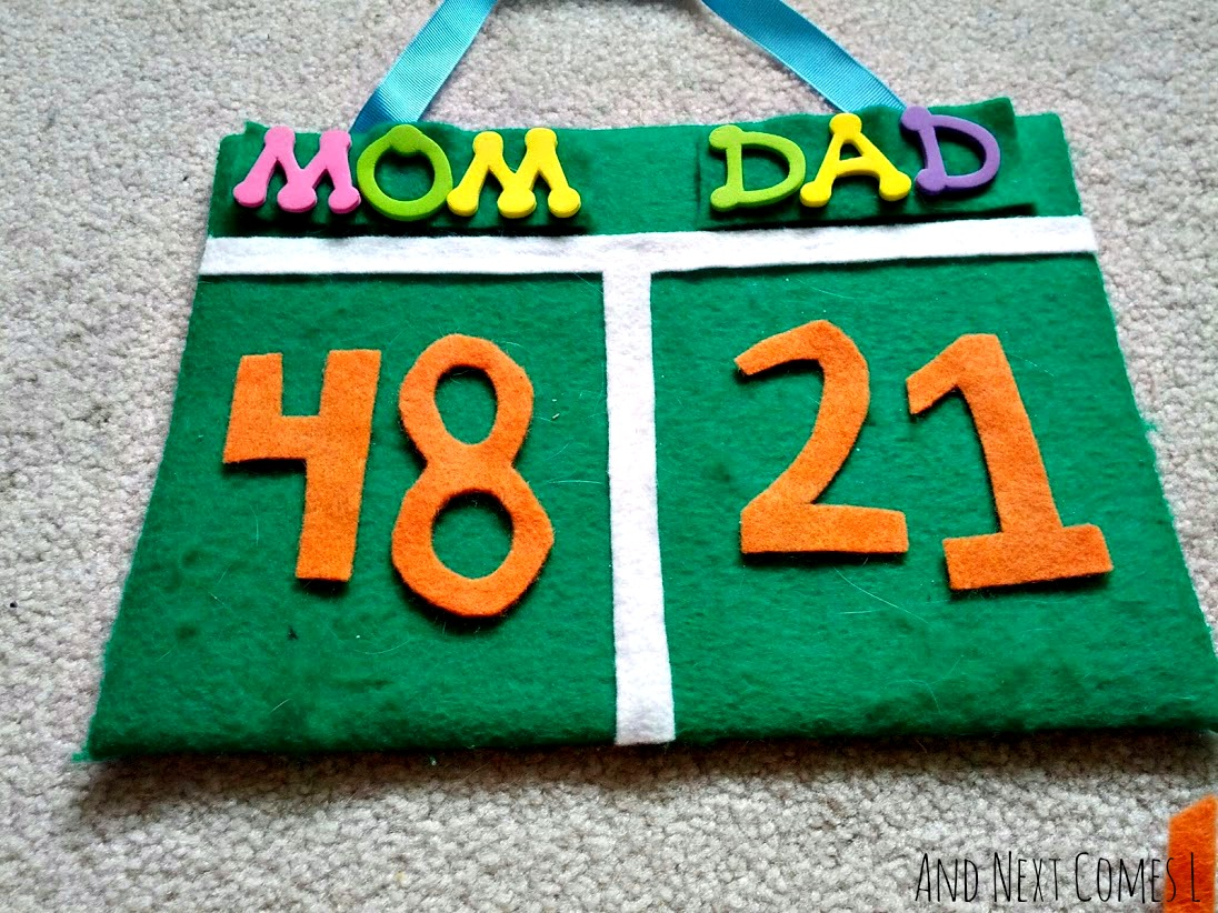 DIY no-sew felt scoreboard with interchangeable name tags for kids from And Next Comes L
