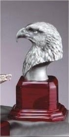 Silver Eagle Mascot on Wood Base