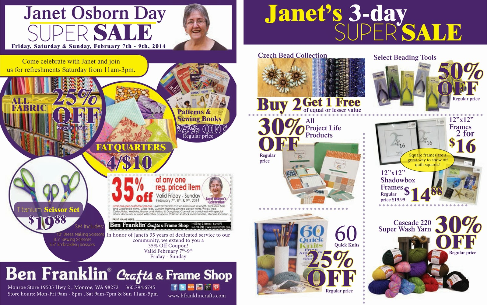 Ben franklin crafts and frame shop monroe wa february 2014 for Ben franklin craft store coupons