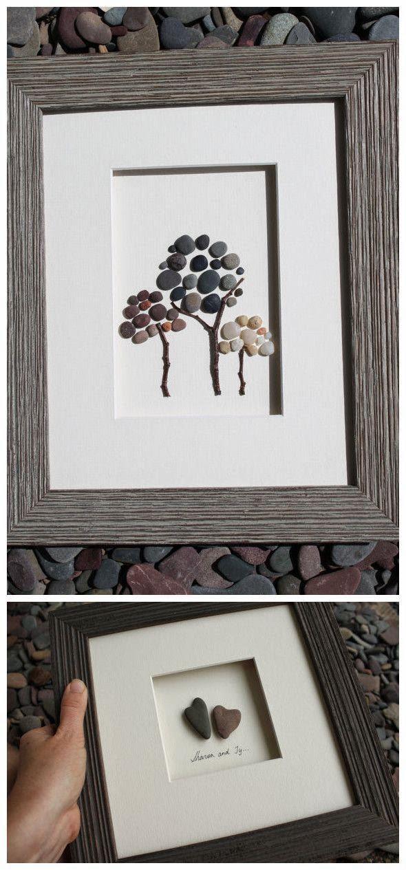 Cuadros decorativos hecho con piedras portal de manualidades - Cuadros hechos con piedras de playa ...