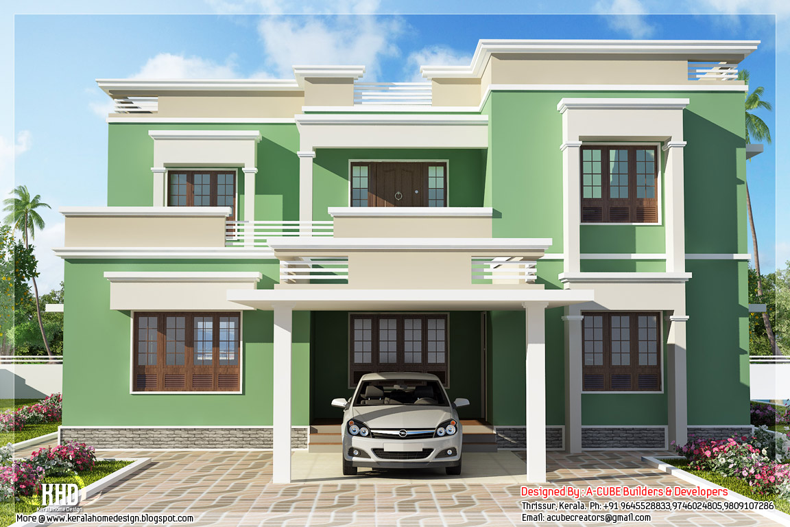 Indian flat roof villa in 2305 kerala home for 2 bedroom house designs in india