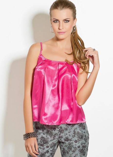 Blusas de Cetim pink