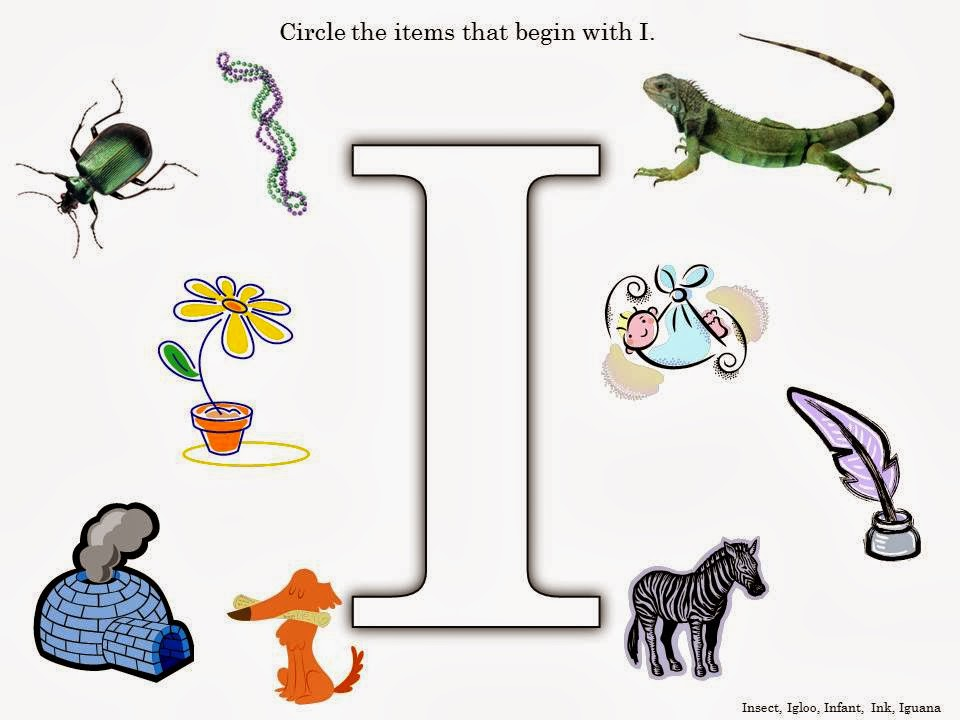 ... children will circle the items that begin with i letter i worksheet