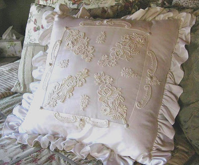 pillow made from a wedding dress