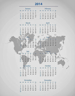 Simple printable calendar 2014 with world map grey background