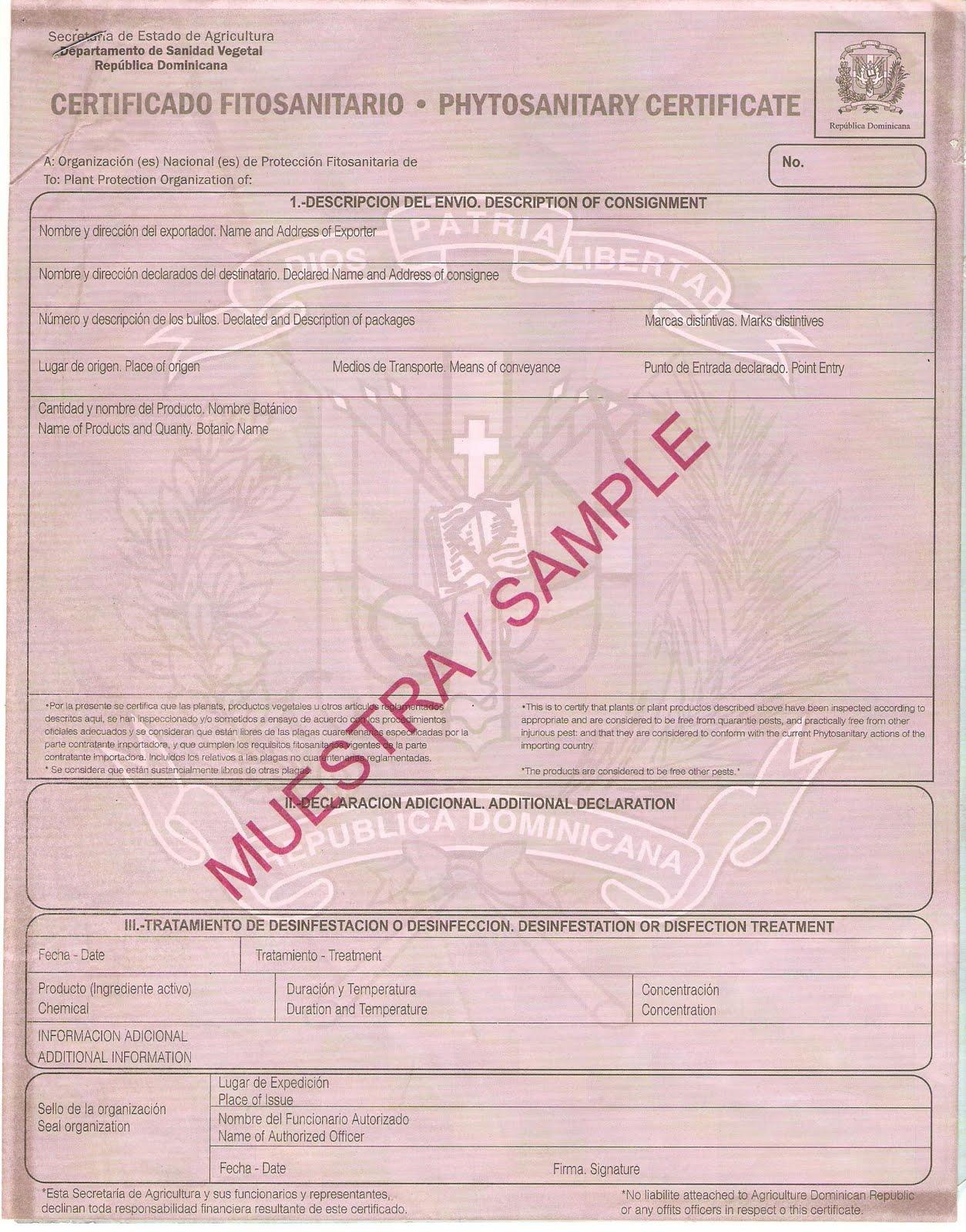Multihogar # Certificado Fitosanitario Muebles
