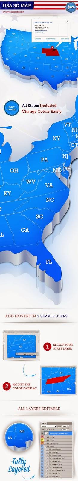 USA Map Template PSD