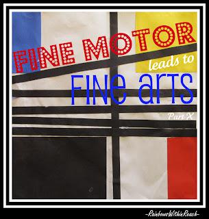 photo of: Fine Arts for Children, Mondrian, fine motor, preschool, kindergarten, Head Start, bulletin board