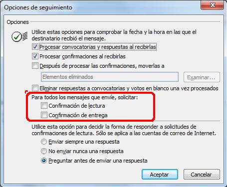 Acuse de recibo en Outlook 2003 y posteriores