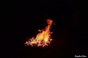 Camp fire on sea beach