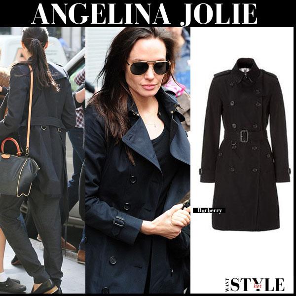 Angelina Jolie in black Burberry Kensington trench coat september 2015