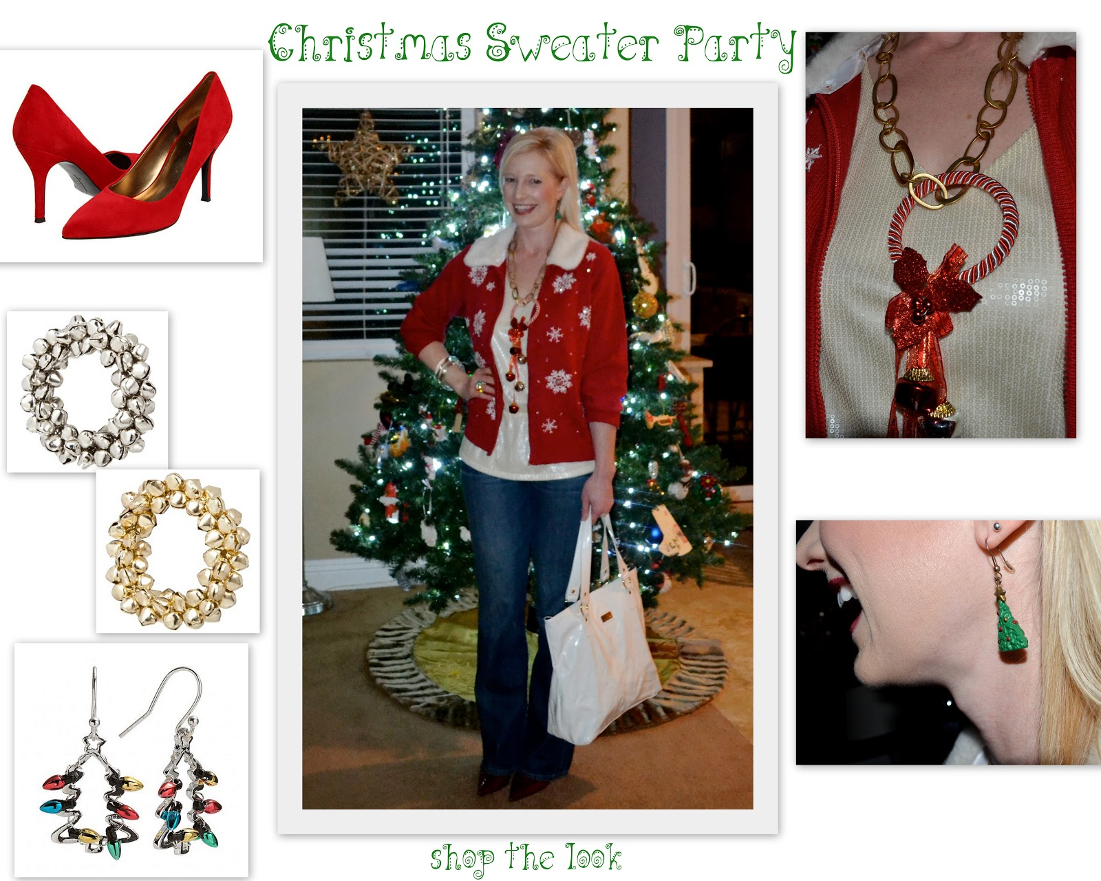 Christmas dress ideas for office party -  For The Christmas Sweater Party Look Use These To Make A Necklace Earrings Heels