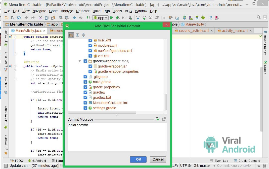 Android Studio Add Files Initial Commit window