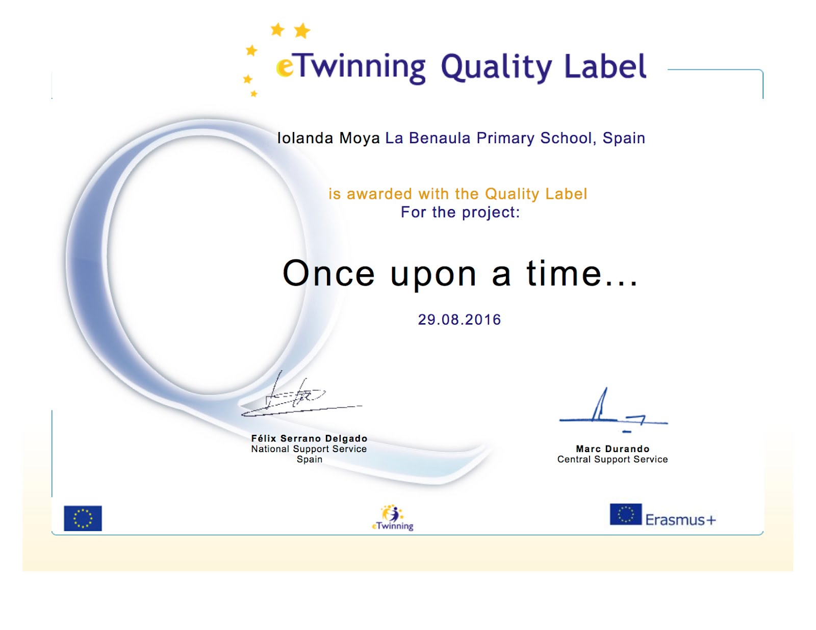 Segon Quality Label de l'escola La Benaula