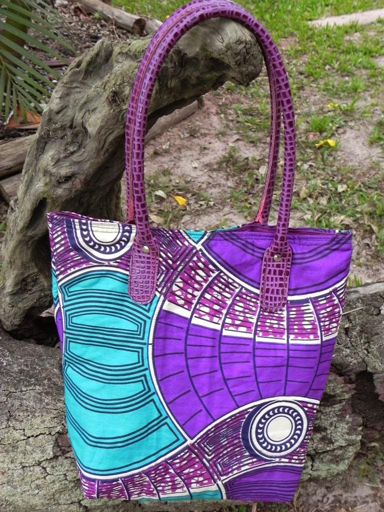 bolsa em tecido africano