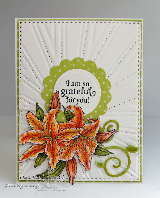 ODBD products: Beauty, Fancy Foliage Die, Recipe Card and Tags die, Sunburst Background Die, designed by Grace Nywening