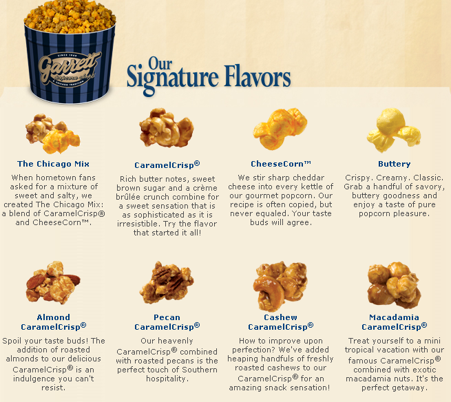 garrett popcorn signature flavors the overall design of popcorn boxes