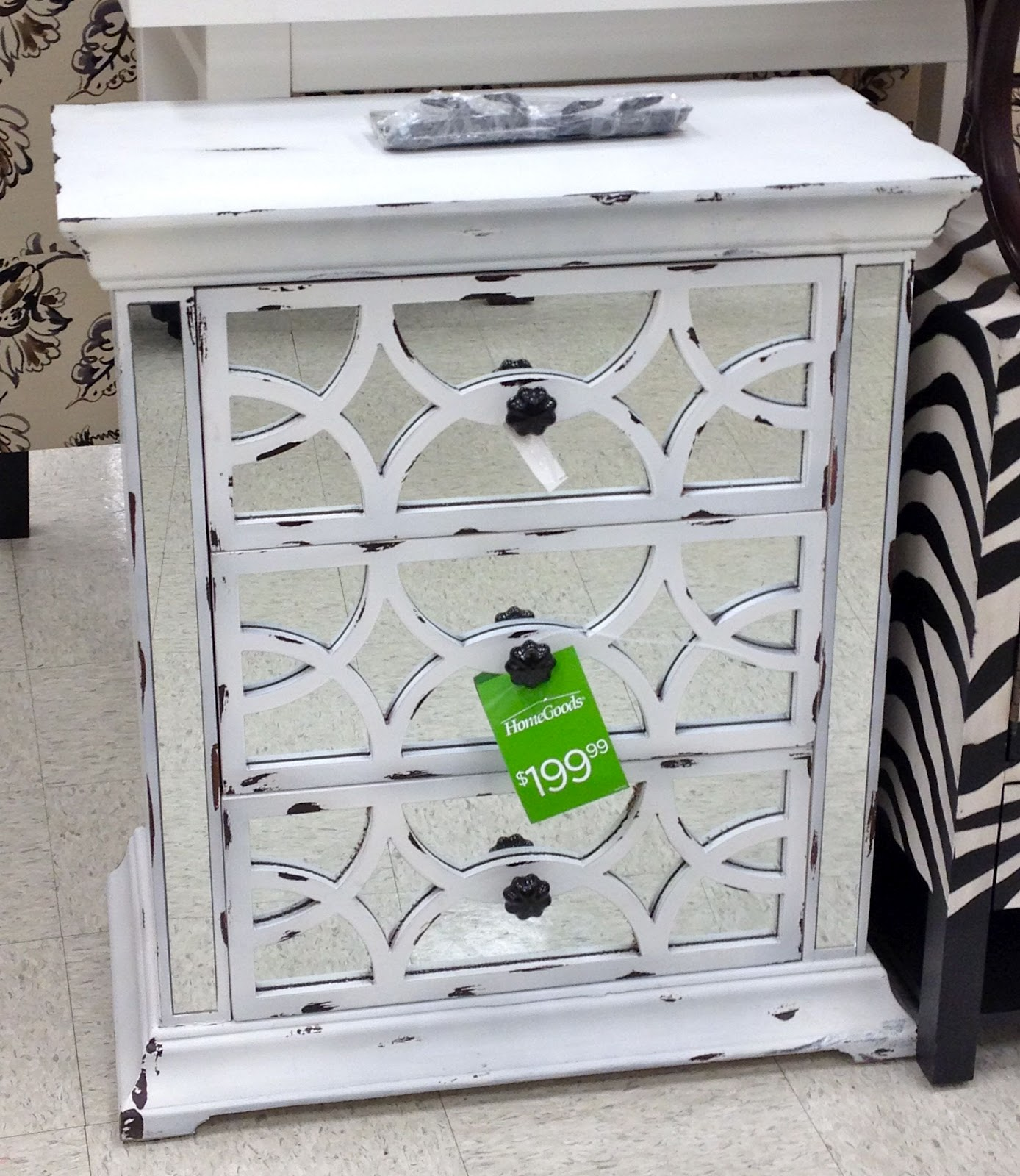 My Home Goods also had this ornate distressed gray console that is gorgeous  in person. Friday Home Finds    Driven by Decor