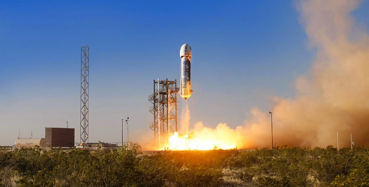 The New Shepard space vehicle blasts off on its first developmental test flight over Blue Origin's West Texas Launch Site. The crew capsule reached apogee at 307,000 feet before beginning its descent back to Earth. Credit: Blue Origin