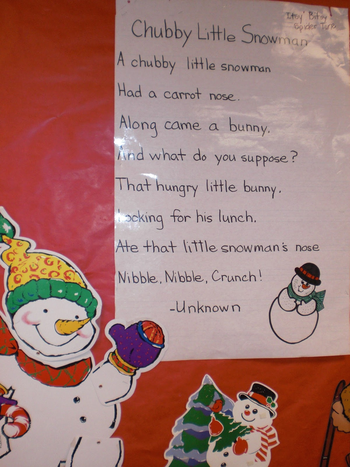 We sing Songs about Snowmen too. Here is one to the tun of Itsy Bitsy ...