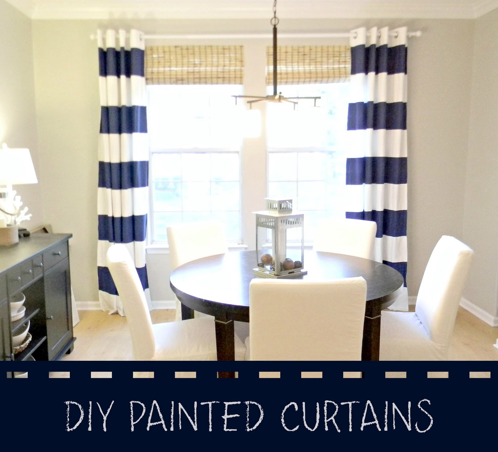 Here Is My Navy And White Painted Striped Curtains